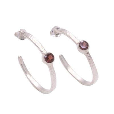 Garnet half-hoop earrings, 'Pretty Paradox' - Sterling Silver Hammered Garnet Half-Hoop Earrings