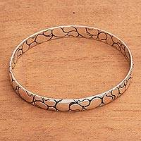 Sterling silver bangle bracelet, 'Polished Paisley' - Modern Balinese Sterling Silver Paisley Boho Bangle Bracelet