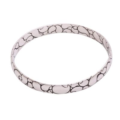 Sterling silver bangle bracelet, 'Polished Paisley' - Modern Balinese Sterling Silver Paisley Boho Bangle Bracelet