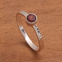 Garnet solitaire ring, 'Mosaic Song' - Garnet and Sterling Silver Hammered Solitaire Ring