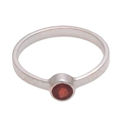 Garnet solitaire ring, 'Pretty Paradox' - Garnet and Sterling Silver Hammered Solitaire Ring