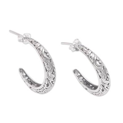 Sterling silver half-hoop earrings, 'Twilight Vines' - Vine Motif Sterling Silver Half-Hoop Earrings from Bali