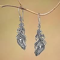 Sterling silver dangle earrings, 'Peacock Luck'