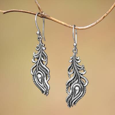 Sterling silver dangle earrings, 'Peacock Luck' - Sterling Silver Peacock Feather Dangle Earrings from Bali