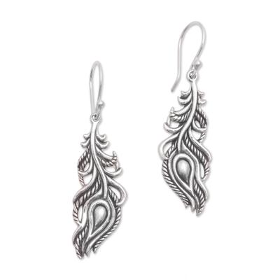 Sterling silver dangle earrings, 'Peacock Luck' - Sterling Silver Peacock Feather Dangle Earrings from Bali