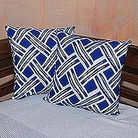 Cotton cushion covers, 'Bedeg in Bali' (pair) - Pair of Blue and White Cotton Cushion Covers from Bali
