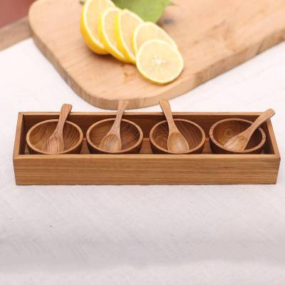 Wood condiment set, 'Date Night' (9 piece) - Hand-Carved Wood Condiment Set from Bali (9 Piece)