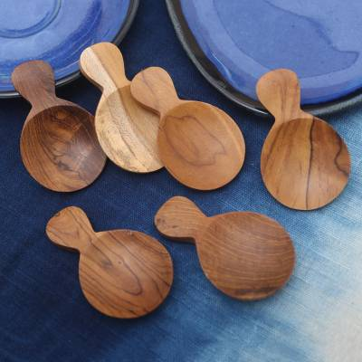 Wood sugar spoons, 'Time with Friends' (set of 6) - Handmade Sawo Wood Sugar Spoons from Bali (Set of 6)
