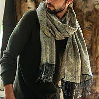 Cotton shawl, 'River's Edge' - Light Olive Green and Ochre Handwoven Cotton Fringed Shawl