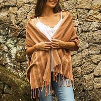 Cotton scarf, 'High Sierra' - Shades of Brown Striped Handwoven Cotton Fringed Scarf