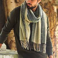Men's cotton shawl, 'Riverbank' - Men's Brown and Green Lightweight Handwoven Cotton Shawl