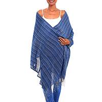Cotton shawl, 'Settle Into Serenity' - Azure Blue with Red Narrow Stripe Handwoven Cotton Shawl