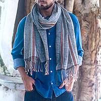 Cotton shawl, 'Dawn on the River' - Denim Blue and Russet Brown Stripe Handwoven Cotton Shawl