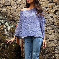 Cotton poncho, 'Sanur Shade in Periwinkle' - Lightweight Cotton Poncho in Periwinkle from Bali