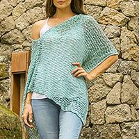 Cotton poncho, 'Sanur Shade in Celadon' - Lightweight Cotton Poncho in Celadon from Bali
