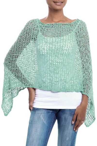 Lightweight Turquoise Hand Crocheted Poncho from Bali