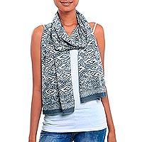 Batik cotton scarf, 'Mendung Tumpal' - Tumpal Motif Batik Cotton Scarf from Java