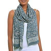 Batik cotton scarf, 'Kabut Tumpal' - Hand-Stamped Batik Cotton Scarf Crafted in Java