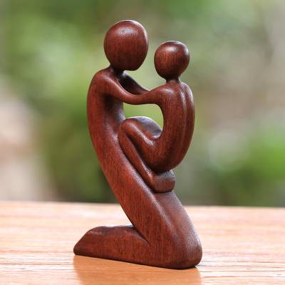 Wood sculpture, 'Playful Father' - Suar Wood Father and Child Sculpture from Bali