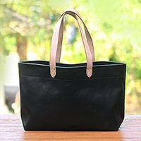 Leather tote bag, 'Sophisticated Shopper' - Handcrafted Black Leather Tote Bag with Cream Straps