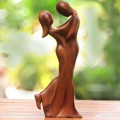 Wood sculpture, 'Romantic Embrace' - Romantic Suar Wood Sculpture from Bali