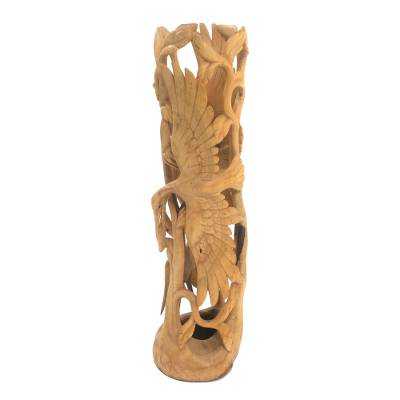 Wood sculpture, 'Heron Skies' - Crocodile Wood Openwork Heron Sculpture from Bali