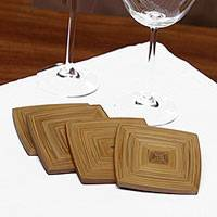 Bamboo coasters, 'Natural Yogyakarta' (set of 4) - Square Bamboo Coasters from Java (Set of 4)