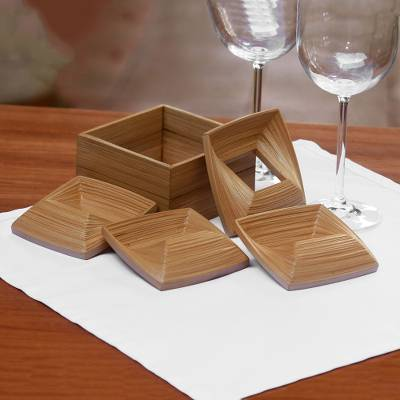 Bamboo napkin rings, 'Yogyakarta Squares' (set of 4) - Square Bamboo Napkin Rings from Java (Set of 4)