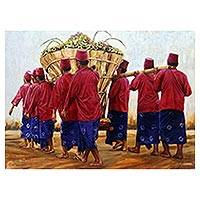 'For Peace' (2012) - Realist Painting of Javanese Men with an Offering (2012)