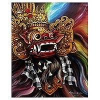 'Barong Aura' - Signed Colorful Painting of Barong from Bali