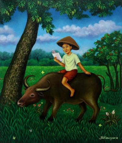 'Learning in Nature' - Signed Painting of a Boy Reading on a Buffalo from Java