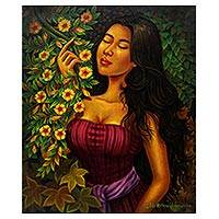 'In Flowers' - Signed Painting of a Woman with Flowers from Java