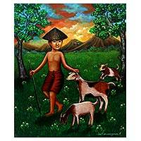 'In the Evening' - Signed Painting of a Boy with Goats from Java