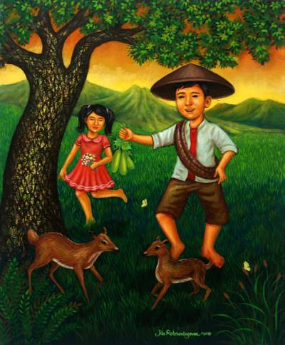 'The Deer and the Farmer' - Signed Painting of Children with Deer from Java