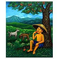 'Still Waiting' - Signed Painting of a Country Boy from Java