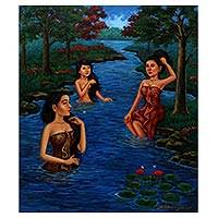 'River Bath' - Signed Painting of Women in the River from Java