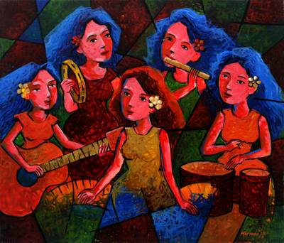 'Ladies' Concert' - Signed Expressionist Painting of Female Musicians from Java