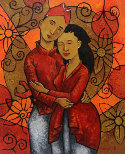 'Javanese Newlywed' - Signed Expressionist Painting of Newlyweds from Java