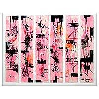 'Pink Mind' - Signed Modern Abstract Painting in Pink from Java