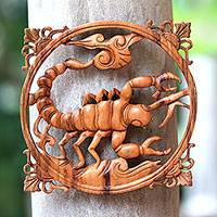 Wood relief panel, 'Scorpion' - Suar Wood Scorpion Relief Panel from Bali