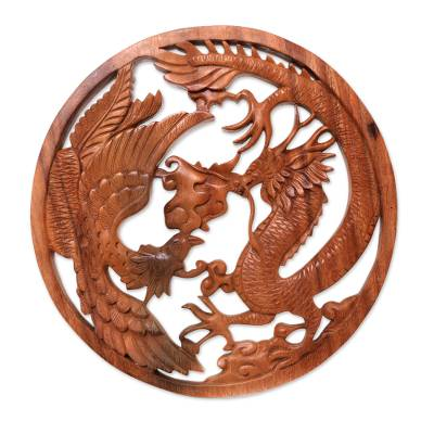 Wood relief panel, 'Magical Battle' - Phoenix and Dragon Wood Relief Panel from Bali