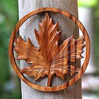 Wood relief panel, 'Maple' - Maple Leaf Suar Wood Relief Panel from Bali