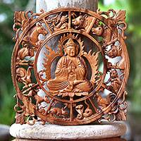 Wood relief panel, 'Zodiac Buddha' - Zodiac-Themed Buddha Wood Relief Panel from Bali