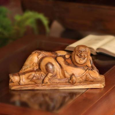 Wood sculpture, 'Reposing Buddha' - Suar Wood Sculpture of Laying Buddha from Bali
