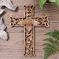Wood wall cross, 'Lotus Cross'