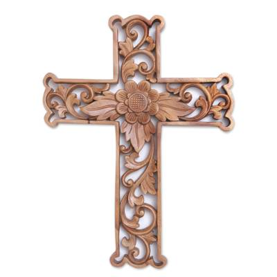 Wood wall cross, 'Lotus Cross' - Hand-Carved Wood Floral Wall Cross from Bali