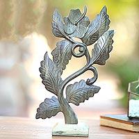 Wood sculpture, 'Green Hibiscus'