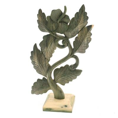 Wood sculpture, 'Green Hibiscus' - Hand-Carved Floral Hibiscus Wood Sculpture from Bali