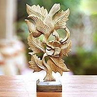 Wood sculpture, 'Hummingbird Tune' - Hibiscus Wood Hummingbird Sculpture from Bali
