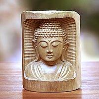 Wood statuette, 'Buddha Relief' - Hand-Carved Crocodile Wood Buddha Statuette from Bali